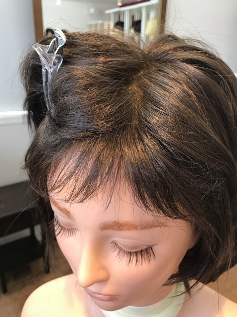 人毛ミックス医療用ウィッグショートレイヤー前髪