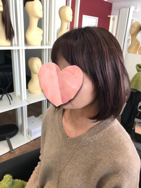 自毛と近い髪型のピンクブラウン医療用ボブウィッグ正面