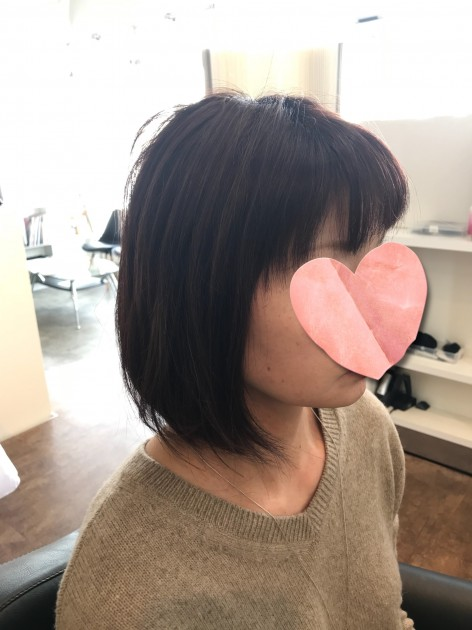 自毛と近い髪型のピンクブラウン医療用ボブウィッグ横